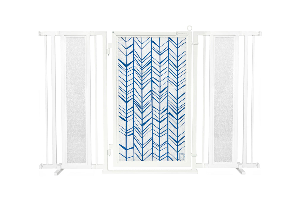 "60"" - 65"" Chevron Trail in Blue Fusion Gate, White Pearl Finish"