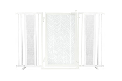 "60"" - 65"" Blushing Garden Fusion Gate, White Pearl Finish"