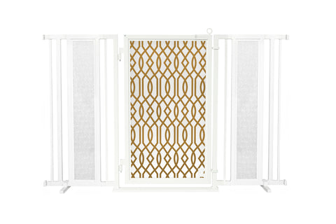"60"" - 65"" Linear Lace in White Fusion Gate, White Pearl Finish"
