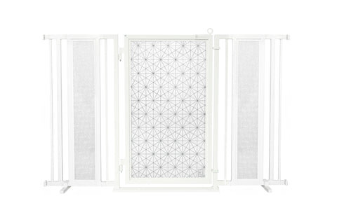 "60"" - 65"" Linear Lace Fusion Gate, White Pearl Finish"