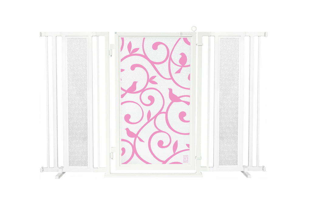 "60"" - 65"" Songbirds in Pink Fusion Gate, White Pearl Finish"