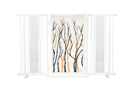 "60"" - 65"" Autumn Ginkgo Fusion Gate, Satin Nickel Finish"