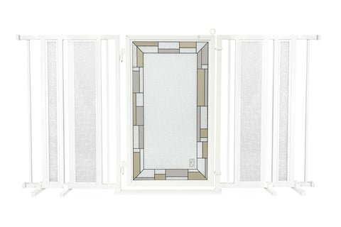 "65"" - 71.5"" Bauhaus Border Fusion Gate, White Pearl Finish"