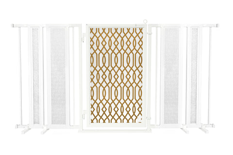 "65"" - 71.5"" Trellis in White Fusion Gate, Satin Nickel Finish"
