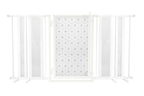 "65"" - 71.5"" White Garden Fusion Gate, Satin Nickel Finish"
