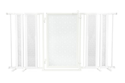 "65"" - 71.5"" Linear Lace in White Fusion Gate, White Pearl Finish"