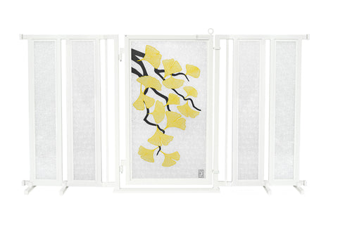 "71.5"" - 74"" Autumn Ginkgo Fusion Gate, White Pearl Finish"