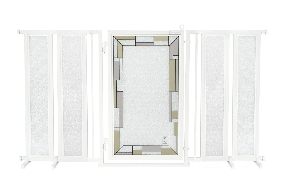 "71.5"" - 74"" Bauhaus Border Fusion Gate, White Pearl Finish"