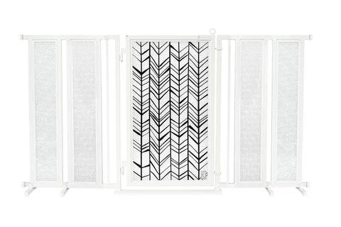 "71.5"" - 74"" Chevron Trail Fusion Gate, White Pearl Finish"