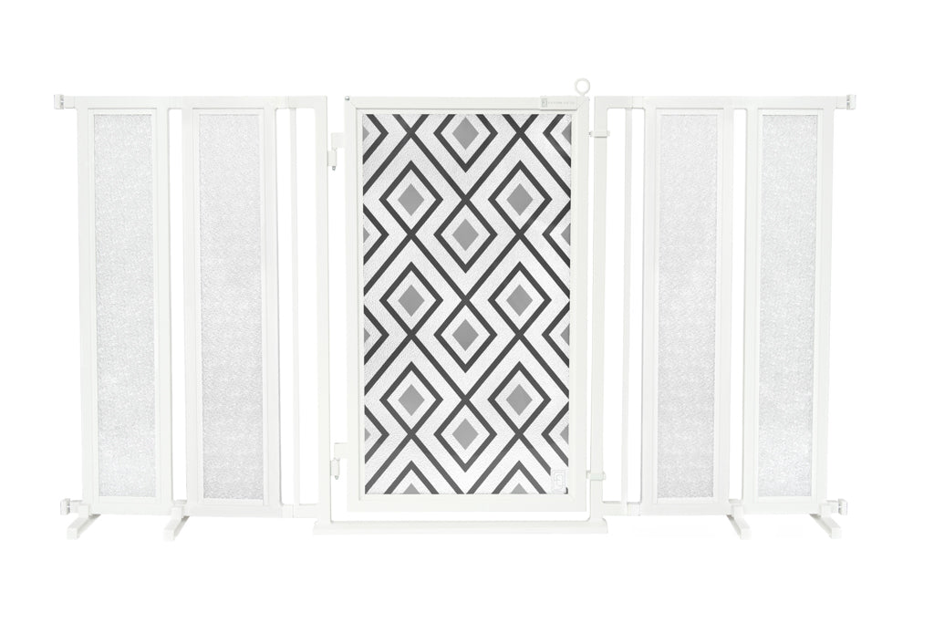"71.5"" - 74"" Gray Diamonds Fusion Gate, White Pearl Finish"