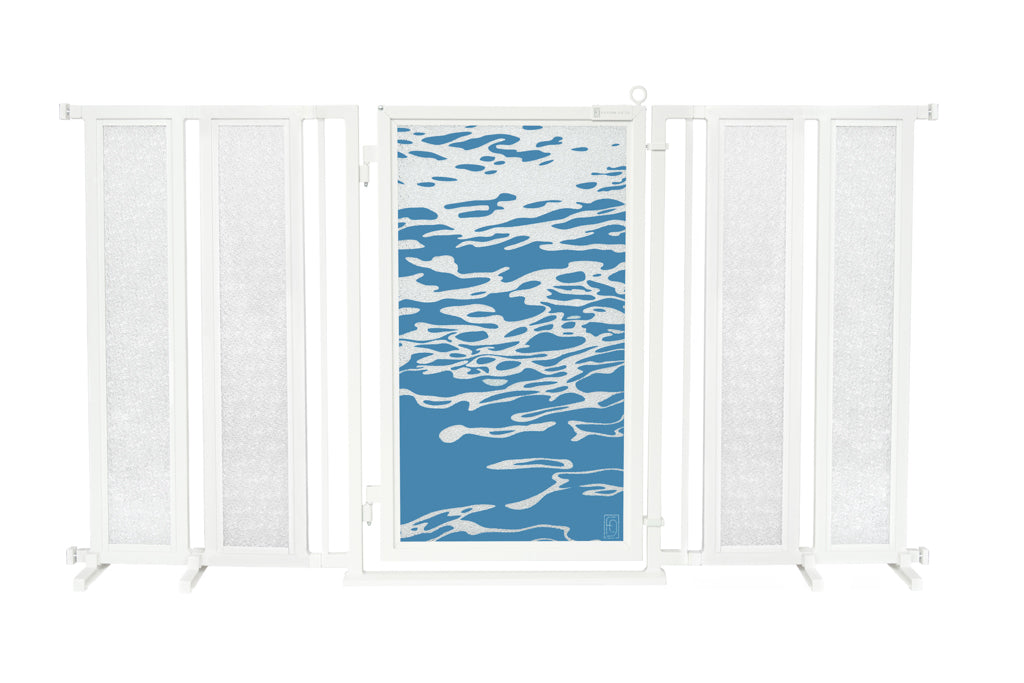"71.5"" - 74"" Healing Waters Fusion Gate, White Pearl Finish"