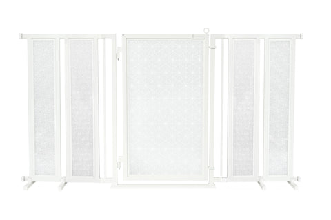 "71.5"" - 74"" Linear Lace in White Fusion Gate, White Pearl Finish"