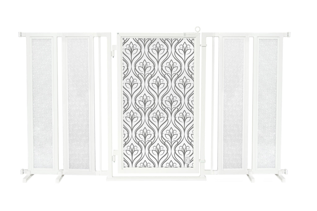 "71.5"" - 74"" Satin Harvest Fusion Gate, White Pearl Finish"