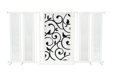 "71.5"" - 74"" Linear Lace Fusion Gate, White Pearl Finish"
