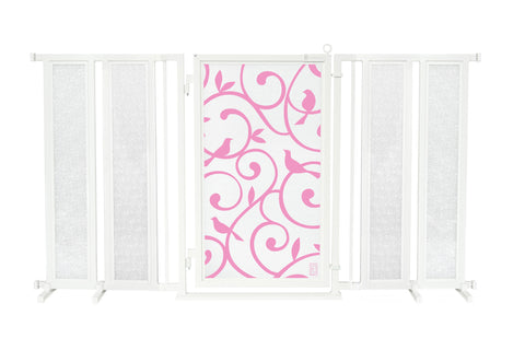 "71.5"" - 74"" Songbirds in Pink Fusion Gate, White Pearl Finish"