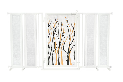 "71.5"" - 74"" Willow Branch Fusion Gate, White Pearl Finish"