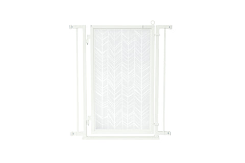 "32"" - 34"" Gold Lattice Fusion Gates, White Pearl Finish"