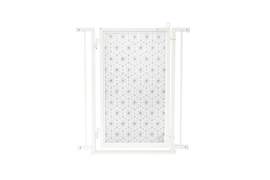 "32"" - 34"" Linear Lace Fusion Gate, White Pearl Finish"