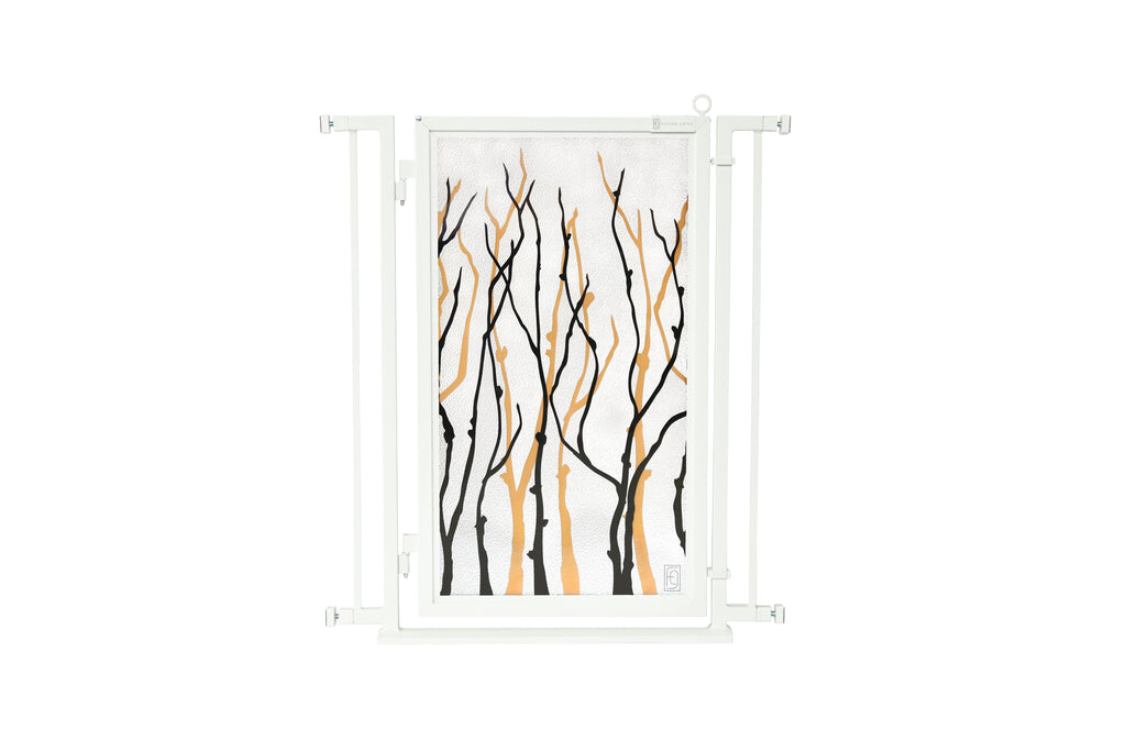 "32"" - 34"" Willow Branches Fusion Gate, White Pearl Finish"
