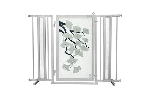 "36"" - 52"" Ginkgo in Platinum Fusion Gates, Satin Nickel Finish"