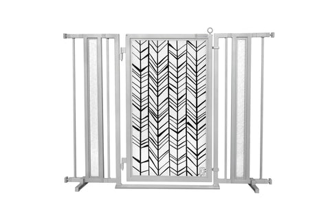 "36"" - 52"" Chevron Trail Fusion Gates, Satin Nickel Finish"