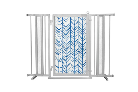 "36"" - 52"" Chevron Trail in Blue Fusion Gate, Satin Nickel Finish"