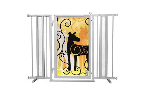 "36"" - 52"" Limited Edition Dream Dog Fusion Gate, Satin Nickel Finish"