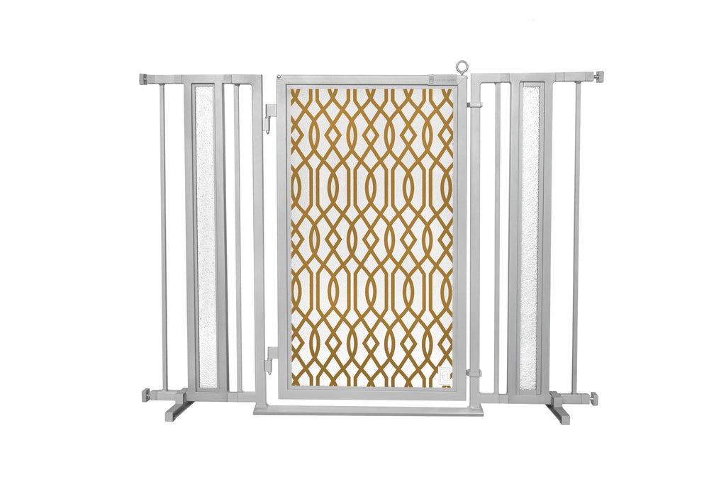 "36"" - 52"" Gold Lattice Fusion Gates, Satin Nickel Finish"