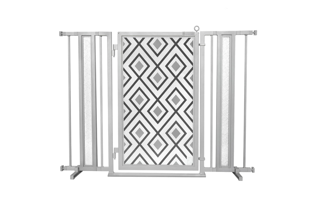 "36"" - 52"" Gray Diamonds Fusion Gate, Satin Nickel Finish"