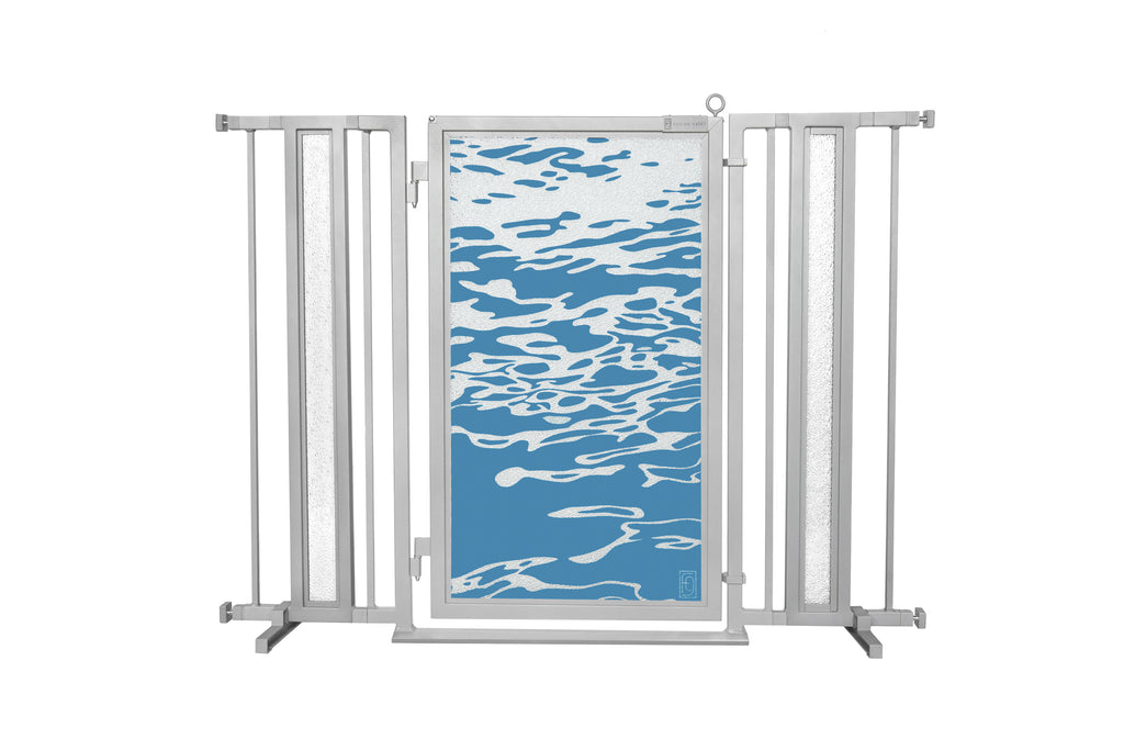 "36"" - 52"" Healing Waters Fusion Gate, Satin Nickel Finish"