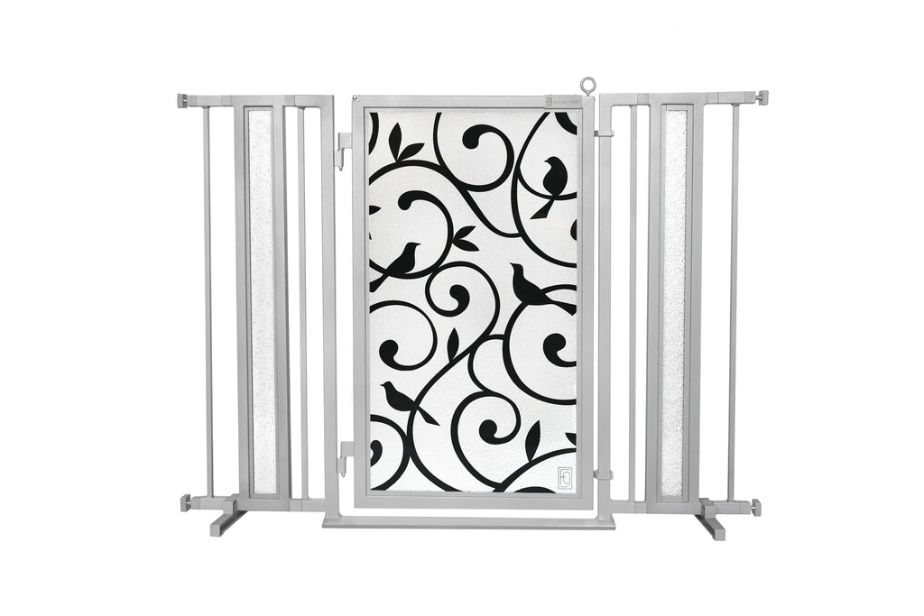 "36"" - 52"" Songbirds Fusion Gate, Satin Nickel Finish"