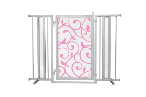 "36"" - 52"" Songbirds in Pink Fusion Gates, Satin Nickel Finish"
