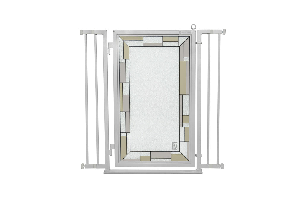 "32"" - 36"" Bauhaus Border Fusion Gate, Satin Nickel Finish"