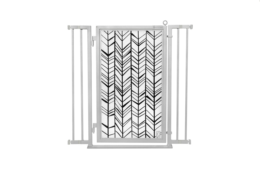 "32"" - 36"" Chevron Trail Fusion Gate, Satin Nickel Finish"