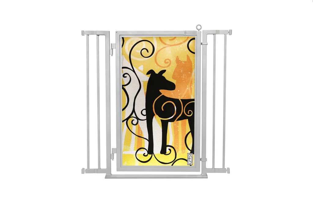 "32"" - 36"" Limited Edition Dream Dog Fusion Gate, Satin Nickel Finish"