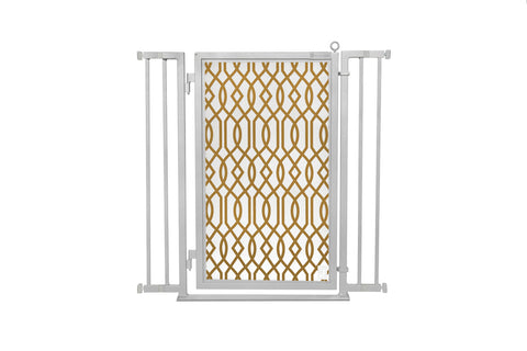 "32"" - 36"" Gold Lattice Fusion Gate, Satin Nickel Finish"