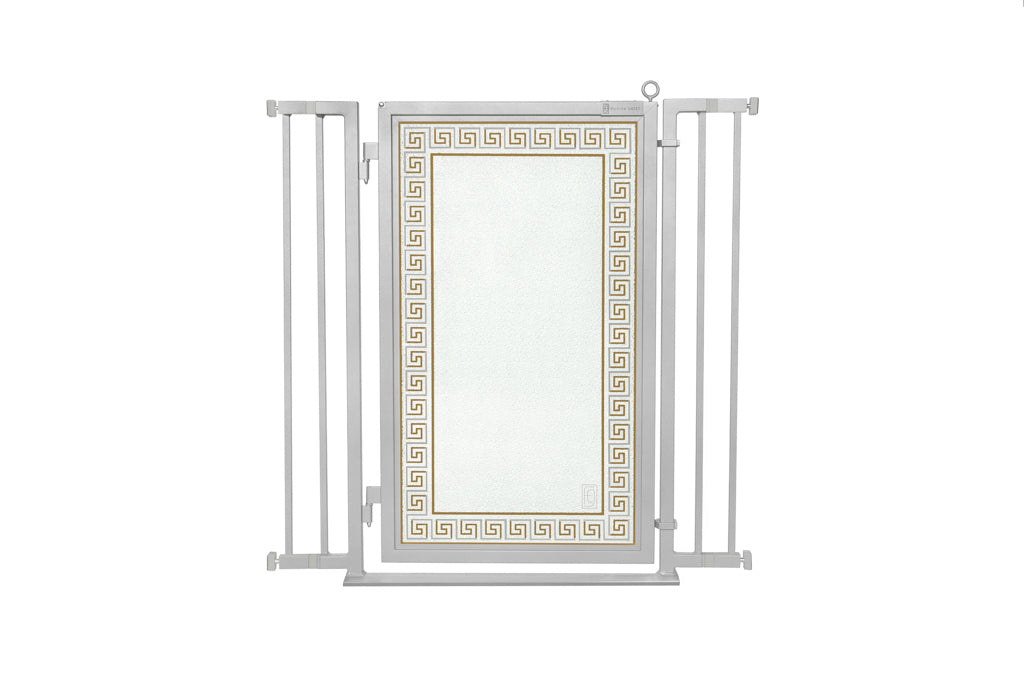 "32"" - 36"" Greek Key Fusion Gates, Satin Nickel Finish"