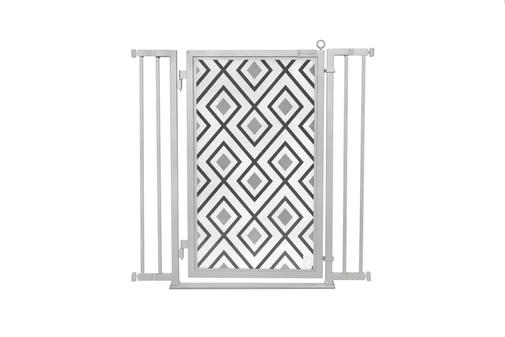 "32"" - 36"" Gray Diamonds Fusion Gate, Satin Nickel Finish"