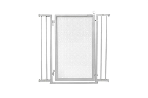 "32"" - 36"" Linear Lace in White Fusion Gate, Satin Nickel Finish"