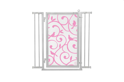 "32"" - 36"" Songbirds in Pink Fusion Gate, Satin Nickel Finish"