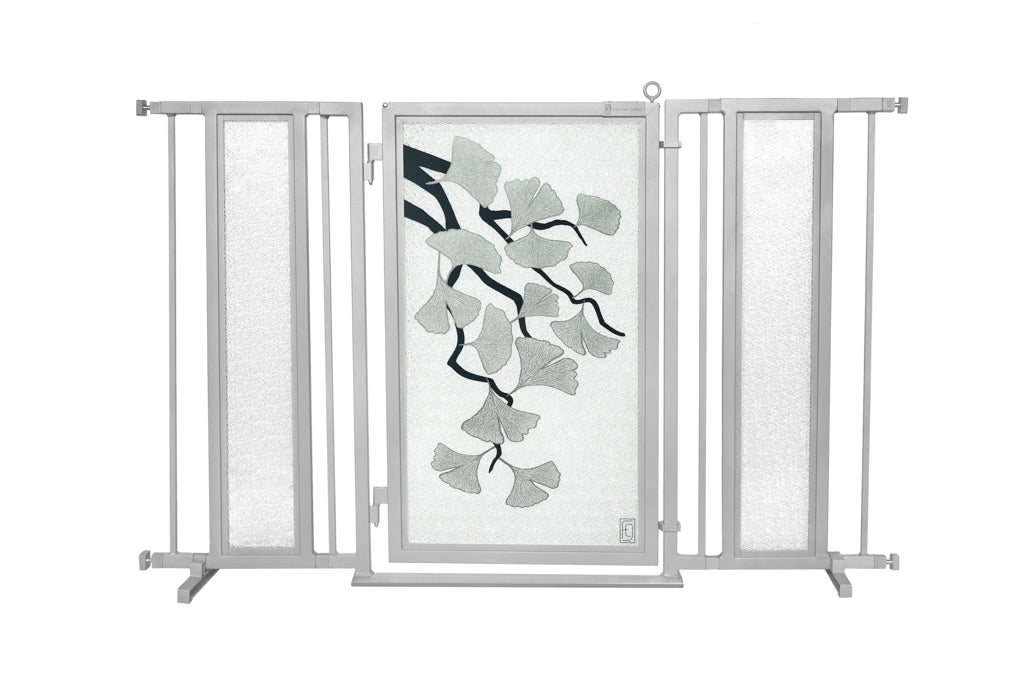 "52"" - 60"" Ginkgo in Platinum Fusion Gate, Satin Nickel Finish"