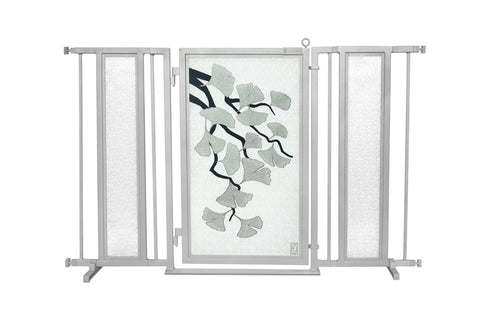 "52"" - 60"" Songbirds in White Fusion Gate, Satin Nickel Finish"