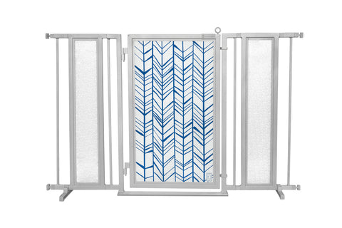 "52"" - 60"" Chevron Trail in Blue Fusion Gate, Satin Nickel Finish"