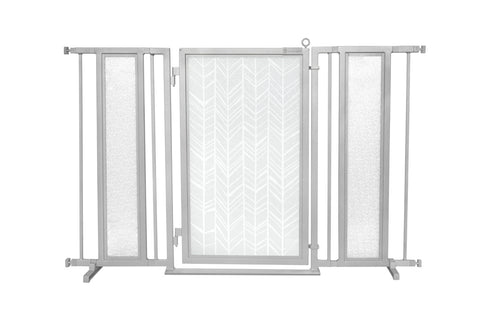 "52"" - 60"" Dog Is My Zen Fusion Gate, White Pearl Finish"