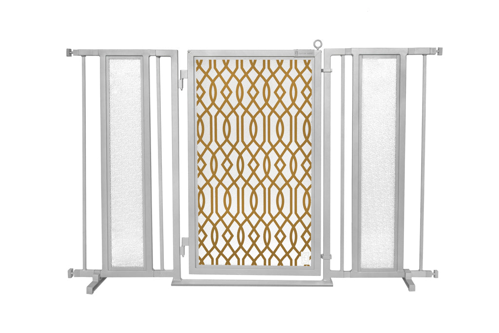 "52"" - 60"" Gold Lattice Fusion Gate, Satin Nickel Finish"