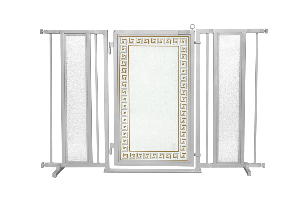 "52"" - 60"" Greek Key Fusion Gate, Satin Nickel Finish"