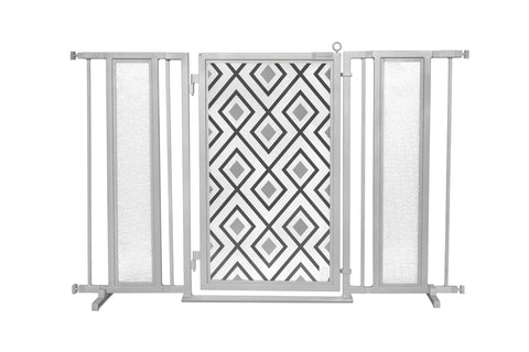 "52"" - 60"" Gray Diamonds Fusion Gate, Satin Nickel Finish"