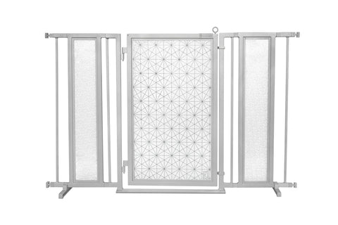 "52"" - 60"" Linear Lace Fusion Gate, Satin Nickel Finish"