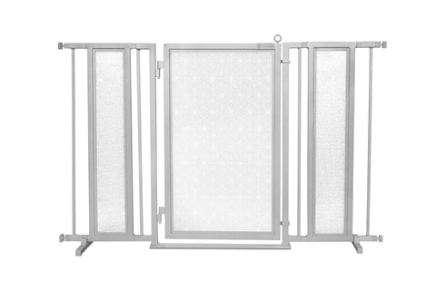 "52"" - 60"" Linear Lace in White Fusion Gate, Satin Nickel Finish"