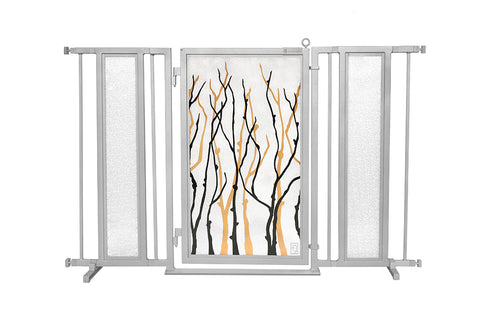 "52"" - 60"" Willow Branches Fusion Gate, Satin Nickel Finish"